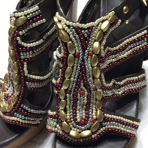 BCBGeneration Beaded Brown Leather Platform Shoes
